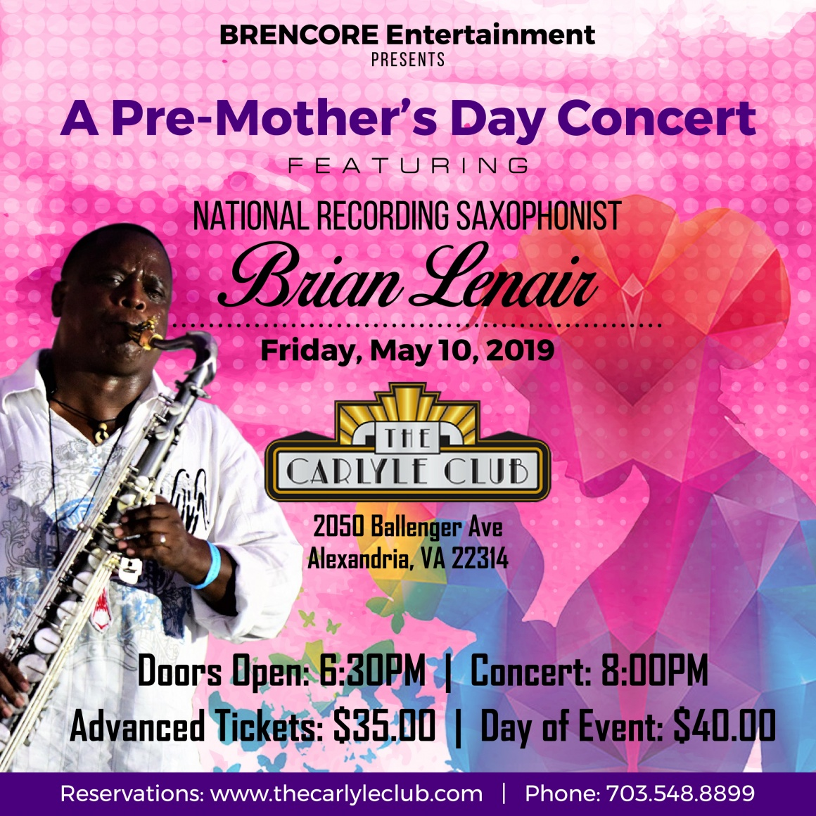 Pre-Mother's Day Concert ft. National Recording Saxophonist Brian Lenair